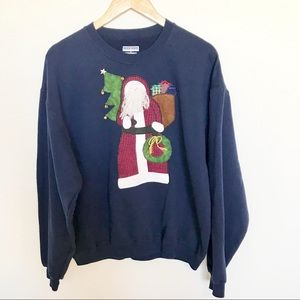 Ugly Tacky Christmas Santa Sweatshirt Sweater Bell